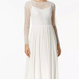 Adrianna Papell white beaded top gown, size 6